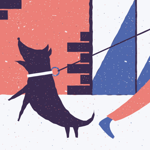 This is the feature image for the project 'Sounds of the City'. It is an illustration of a dog barking.