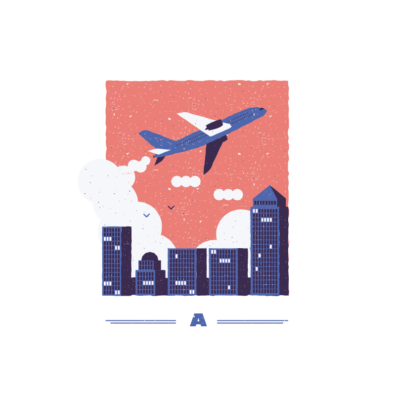An illustration for the graphic design brief 'Sounds of the City' that depicts the letter A as an Aeroplane.
