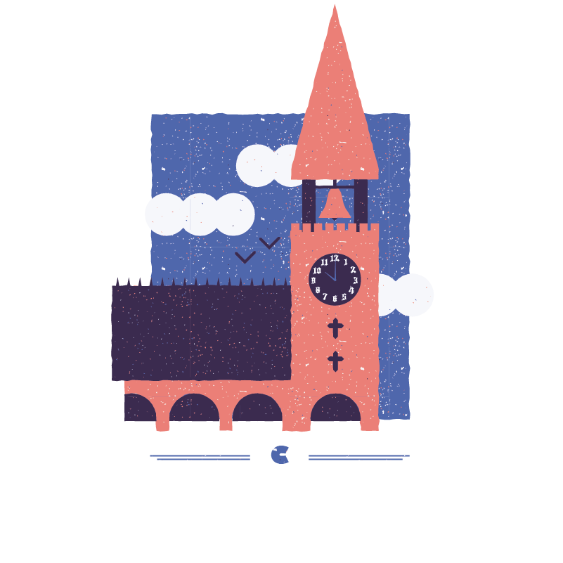 An illustration for the graphic design brief 'Sounds of the City' that depicts the letter C as a church clock chiming.