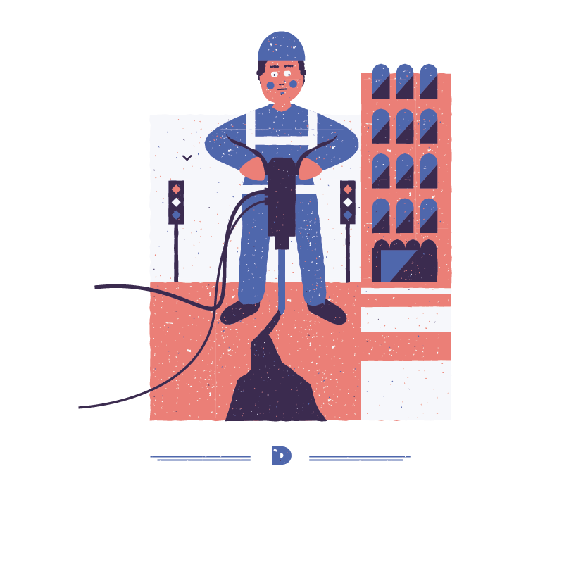 An illustration for the graphic design brief 'Sounds of the City' that depicts the letter D as a road worker drilling.