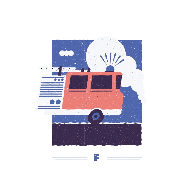 An illustration for the graphic design brief 'Sounds of the City' that depicts the letter F as a fire engine.
