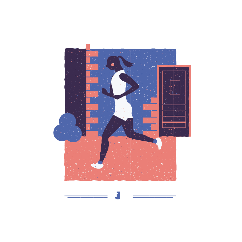 An illustration for the graphic design brief 'Sounds of the City' that depicts the letter J as a woman jogging.