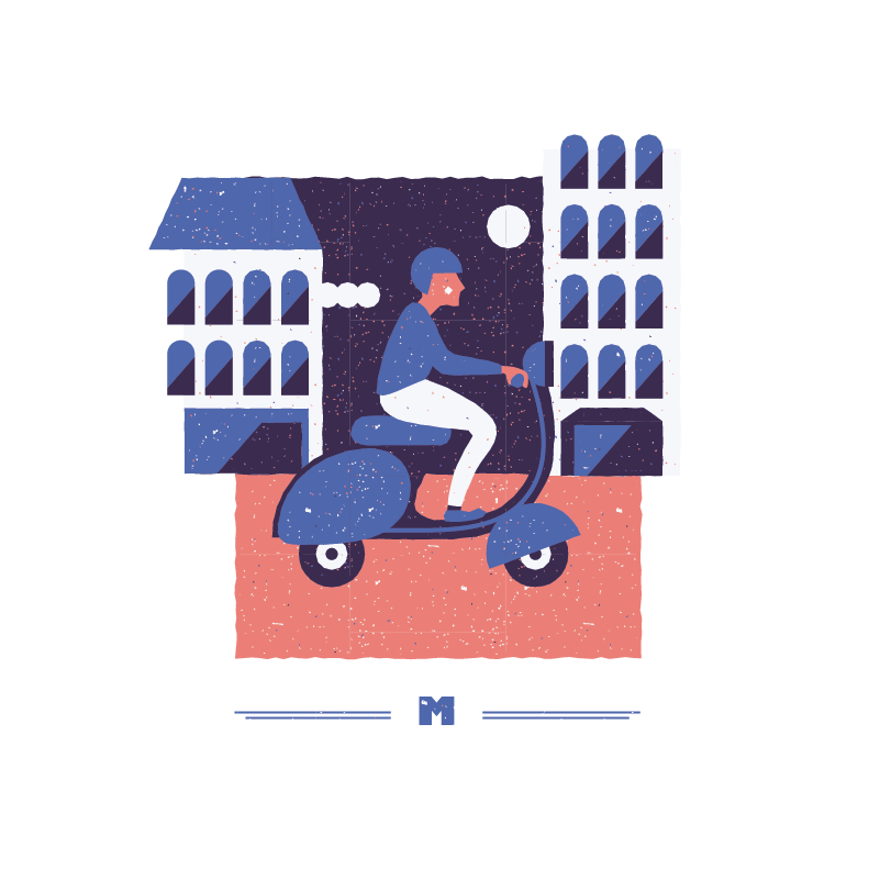 An illustration for the graphic design brief 'Sounds of the City' that depicts the letter M as a man riding a motorbike.