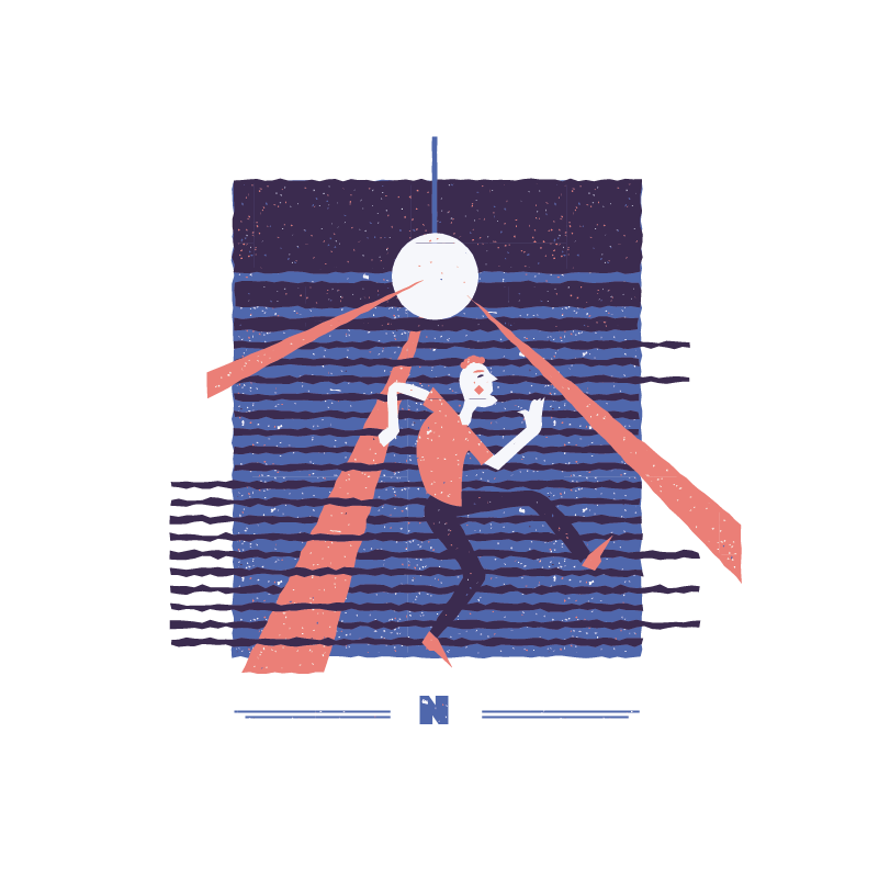 An illustration for the graphic design brief 'Sounds of the City' that depicts the letter N as a man dancing in a nightclub.