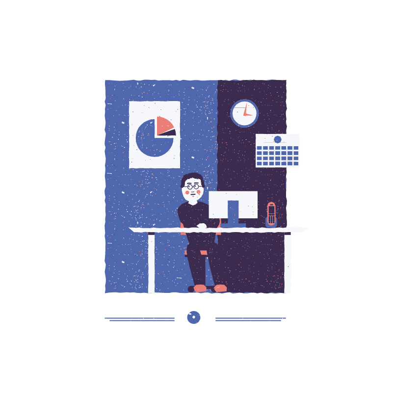 An illustration for the graphic design brief 'Sounds of the City' that depicts the letter O as a man working in an office.