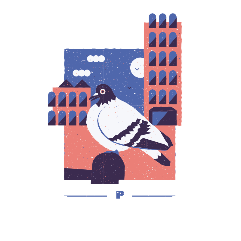 An illustration for the graphic design brief 'Sounds of the City' that depicts the letter P as a pigeon on a bench .