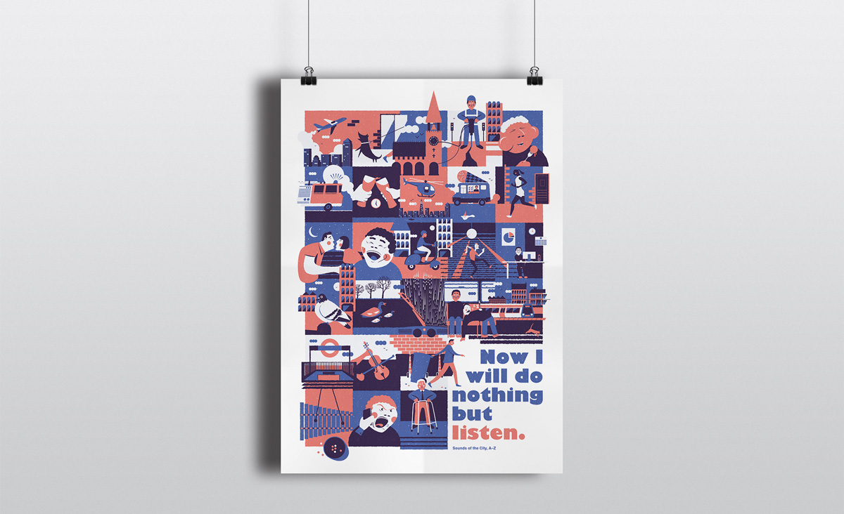 A poster of the illustration for the graphic design brief 'Sounds of the City'.