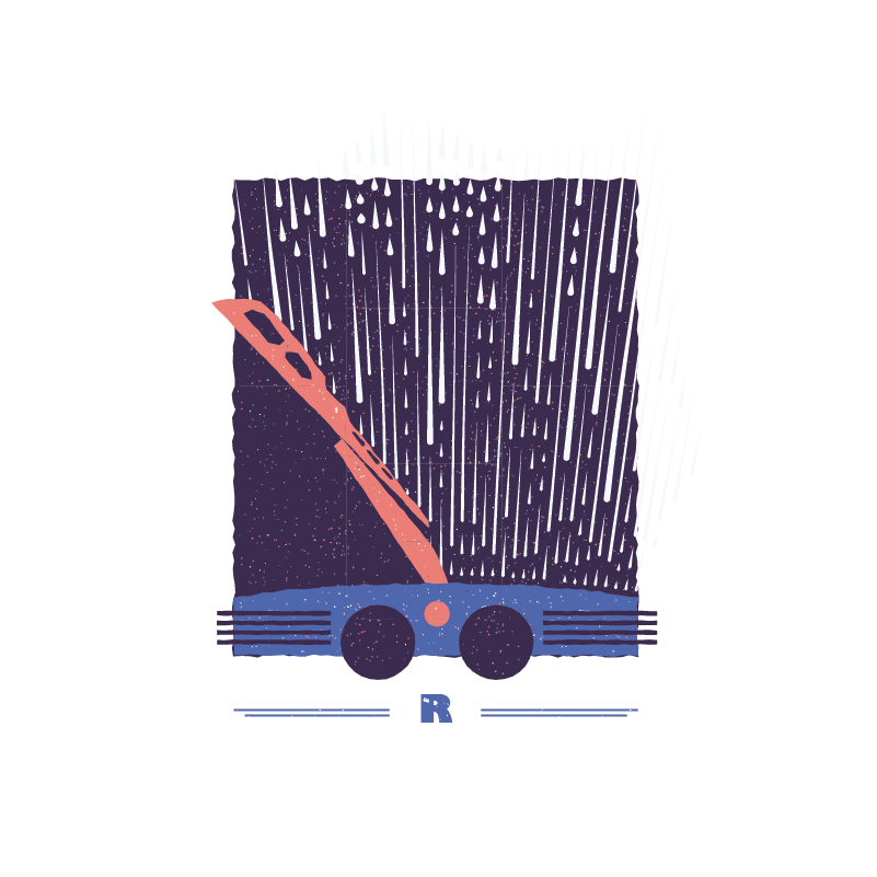 An illustration for the graphic design brief 'Sounds of the City' that depicts the letter R as rain on a car windscreen.
