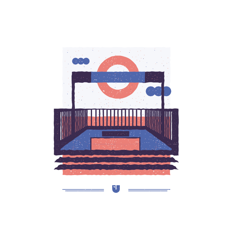 An illustration for the graphic design brief 'Sounds of the City' that depicts the letter U as the underground railway.