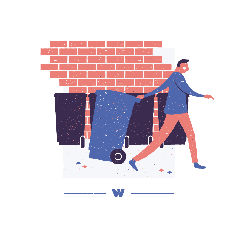 An illustration for the graphic design brief 'Sounds of the City' that depicts the letter W as a wheely bin.