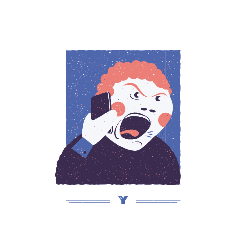 An illustration for the graphic design brief 'Sounds of the City' that depicts the letter Y as a man yelling.