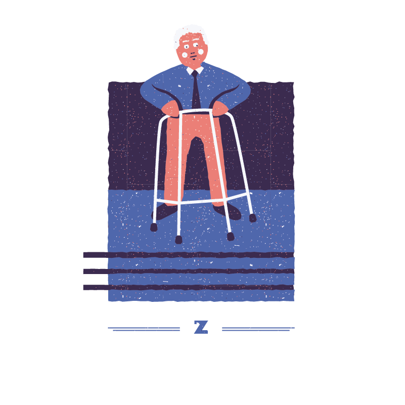 An illustration for the graphic design brief 'Sounds of the City' that depicts the letter Z as an old man using a zimmer-frame.