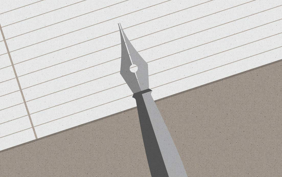 Image of pen on paper for writing brief